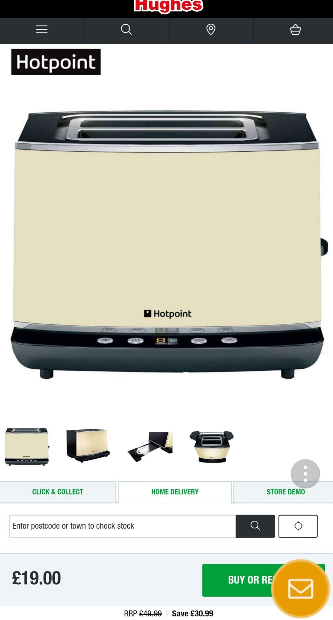 Hotpoint 850W 2 Slice Digital Toaster £19 @ Hughes