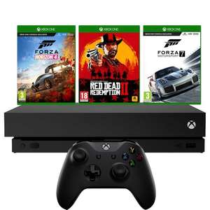 Xbox One X 1TB with Forza Horizon 4 and Forza Motorsport 7 (Digital Download) & Red Dead Redemption 2 (Physical Game) - Black £409 at AO.com