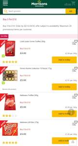 Morrisons 3 for £10 Chocolate Boxes inc Lindor, Ferrero Rocher, Thorntons.