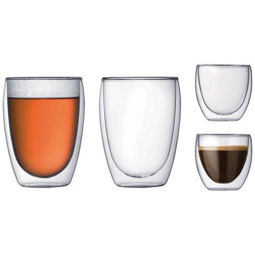 4 Bodum Pavina double walled coffee glasses (2 x 0.08l & 2 x 0.35l) - Amazon - £14.99 (Prime) £19.48 (Non Prime)
