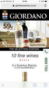 Giordano 10 bottles of wine, 4 Food items and 12 piece dinner service - £59 / £64.95 delivered @ Giordano Wines