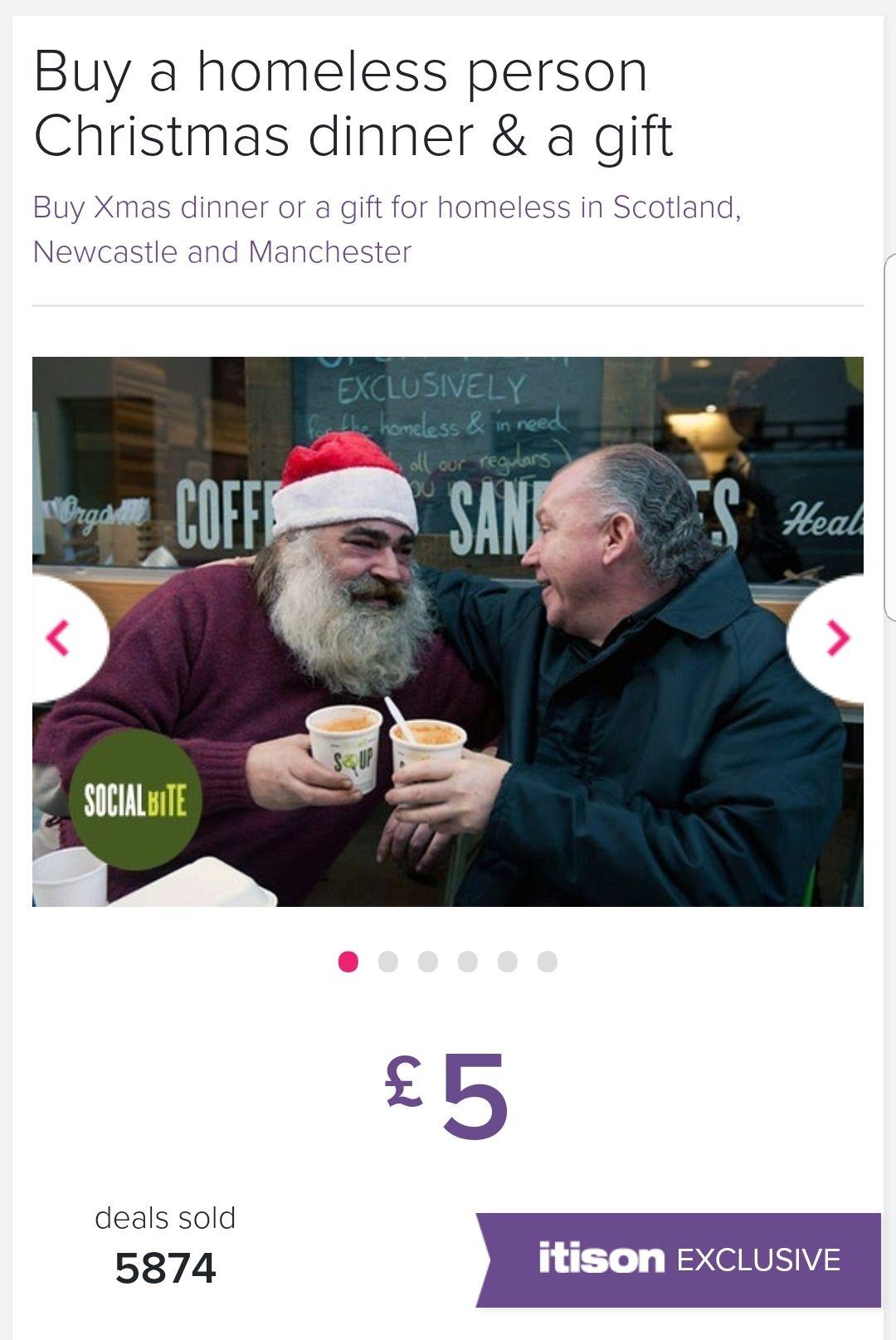 £5 @ Itison - Buy Christmas dinner & a gift for homeless.