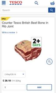British Beef Bone In Rib Joint £11.50 per Kg from 12/12 @ Tesco (Butchers Counter)