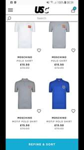 Men's moschino polo tops £15.50 / £20.49 delivered @ USC