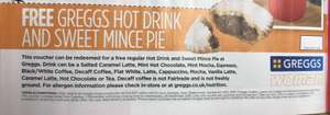 Free Greggs hot drink & sweet mince pie for Woman magazine readers - £2.30