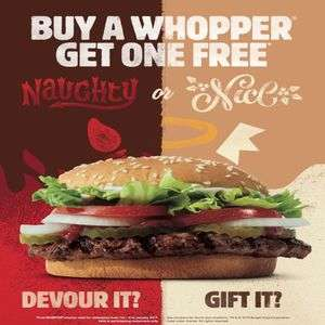 Buy One Get One Free Whoppers at Burger King (from 12/12/18  - Redeem Voucher 01/01 to 31/01/19)
