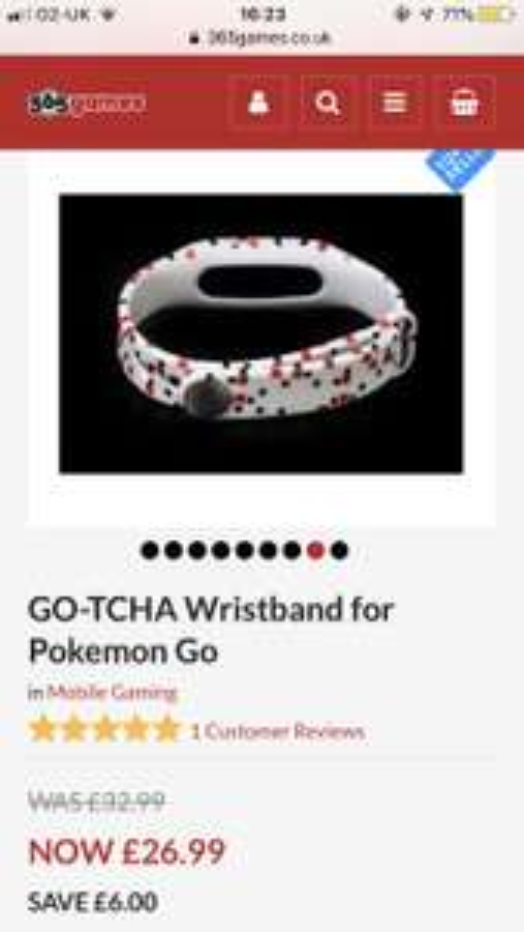 Pokemon go gotcha wristband £26.99 @ 365 Games