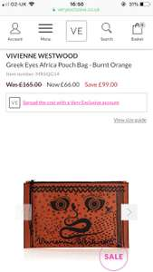 Vivienne Westwood pouch bag reduced from £165 to £66 at Very exclusive. Lots of other bargains too.