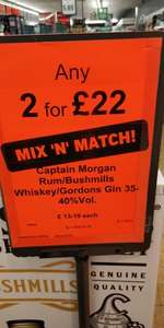 2 for £22 700ml Bushmills, Captain Morgan, Gordon's Gin Lidl Northern Ireland