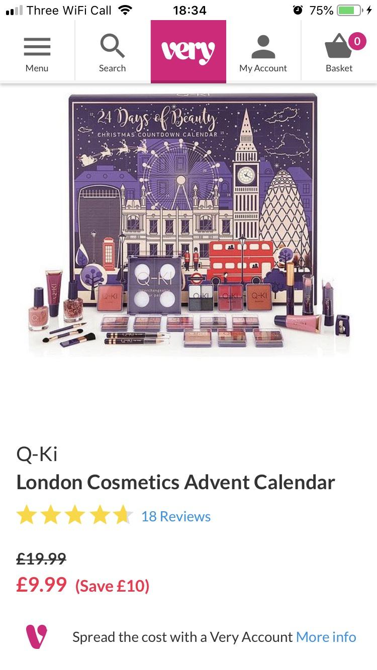 London cosmetics advent half price £9.99 @ Very