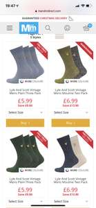 Lyle Scott men's socks £5.99 / £10.98 delivered @ M&MDirect