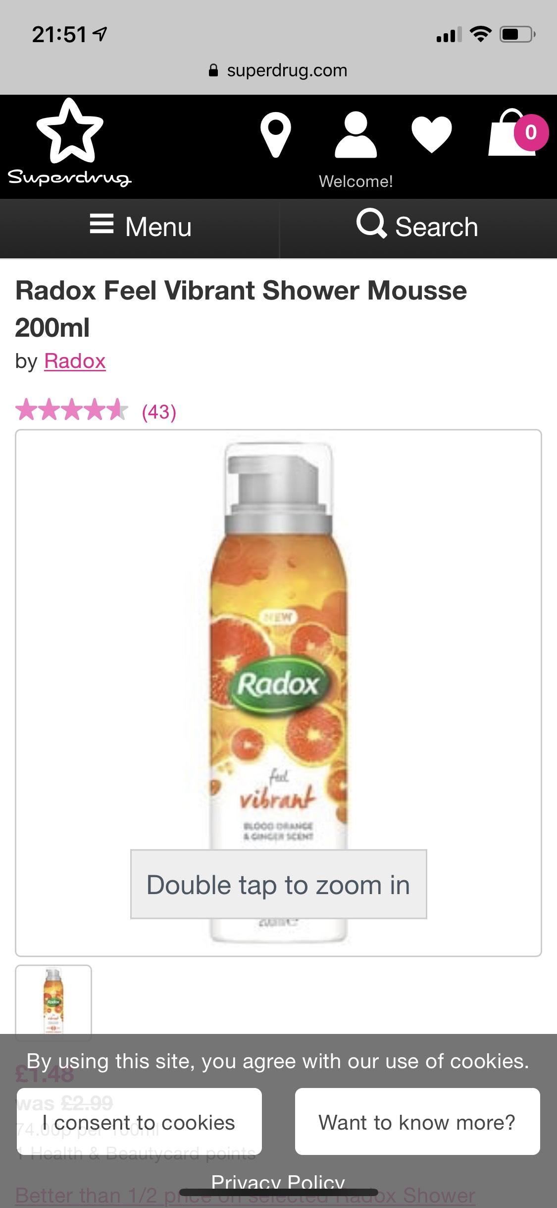 Radox Feel Vibrant Shower Mousse 200ml - £1.48 was £2.99 @ Superdrug (free C&C)