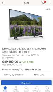 Sony KD55XF7003BU 55 4K HDR smart with Freeview HD in Black £524 @ HughesEbay