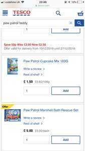 PAW PATROL TOYS REDUCED UPTO 50% OFF MAINLY IN STORE AT TESCO