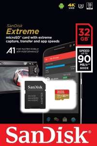 SanDisk Extreme MicroSDHC 100MB/s A1 C10 V30 UHS-I U3 - 32GB, for £9.79, at PicStop