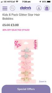 Kids 6 Pack Glitter Star Hair Bobbles - Was £5 now £3 + free C&C @ Claire's Accessories