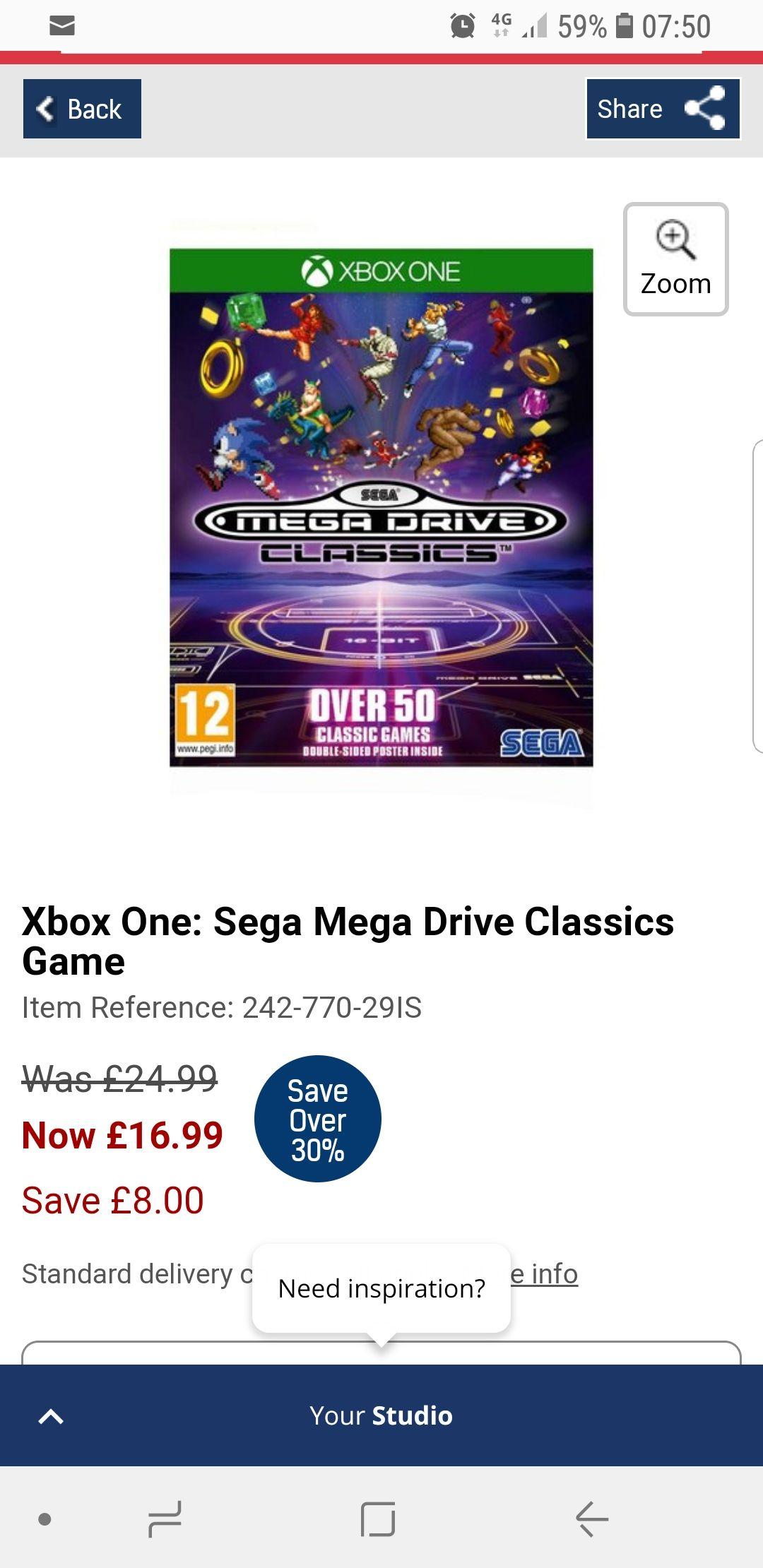 Sega mega drive classics xbox one now £16.99 see comments for free del at  Studio
