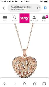 Fiorelli Rose Gold Filigree Heart Necklace With Clear Crystals - £7.99 was £22 @ Very (free C&C)