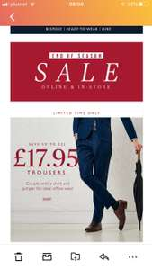 Moss Bros Trouser flash sale - selected items down to £17.95