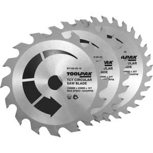Circular Saw TCT Blade Set of 3 £10.78 from Toolstation