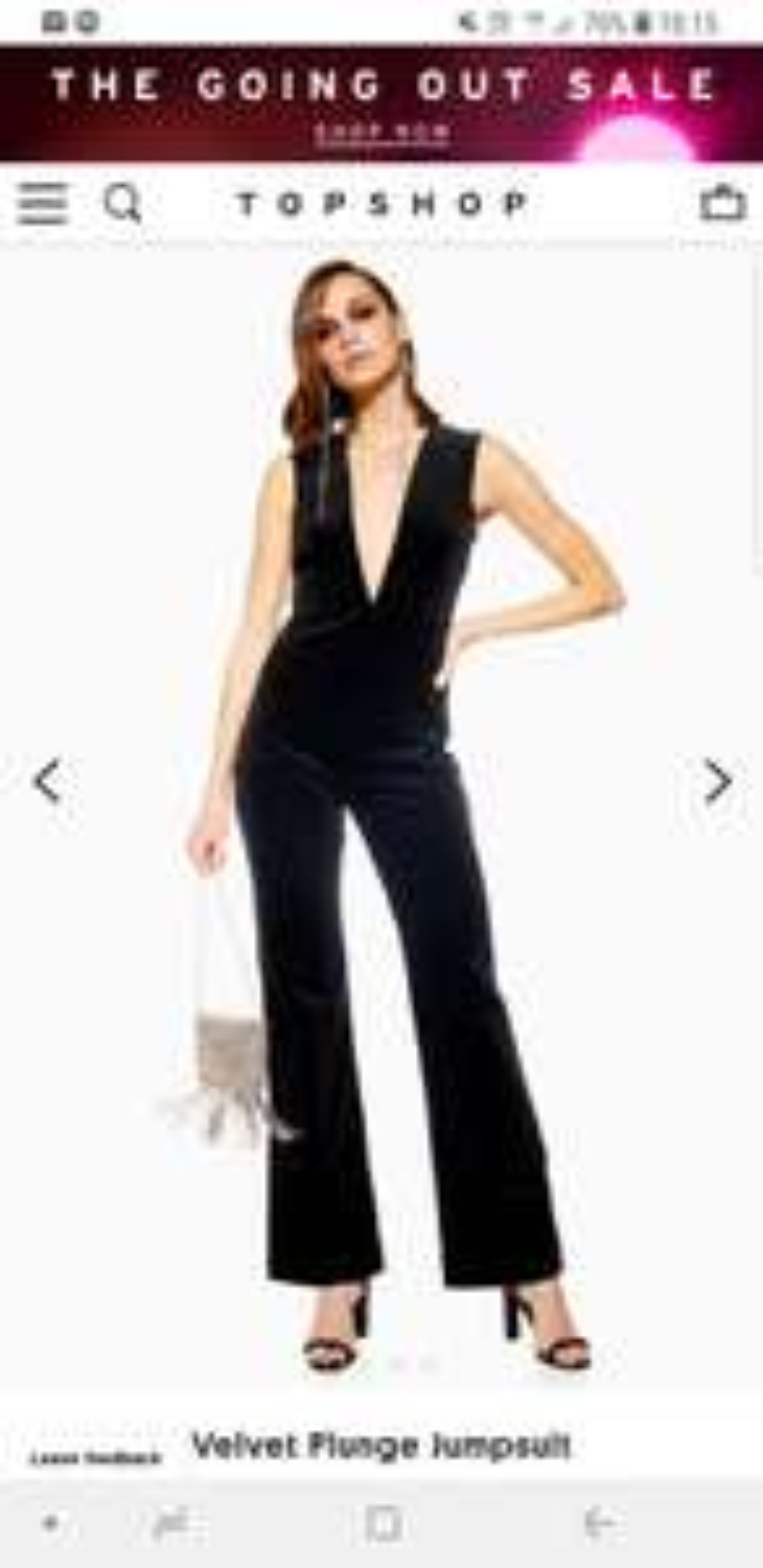 Topshop sale upto half price -  Velvet Plunge Jumpsuit now £30 - Free c&c