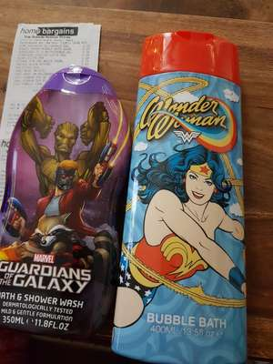 Bubble bath 29p from home bargains (guardians of the galaxy and wonder woman)