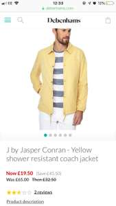 J by Jasper Conran Yellow shower resistant coach jacket Large size in stock only - £19.50 @ Debenhams - £2 C&C / £3.49 delivery
