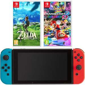 Nintendo 5027757117527 Switch Neon with Mario Kart 8 deluxe + The Legend Of Zelda £299 with code at  AO on eBay (account specific code)