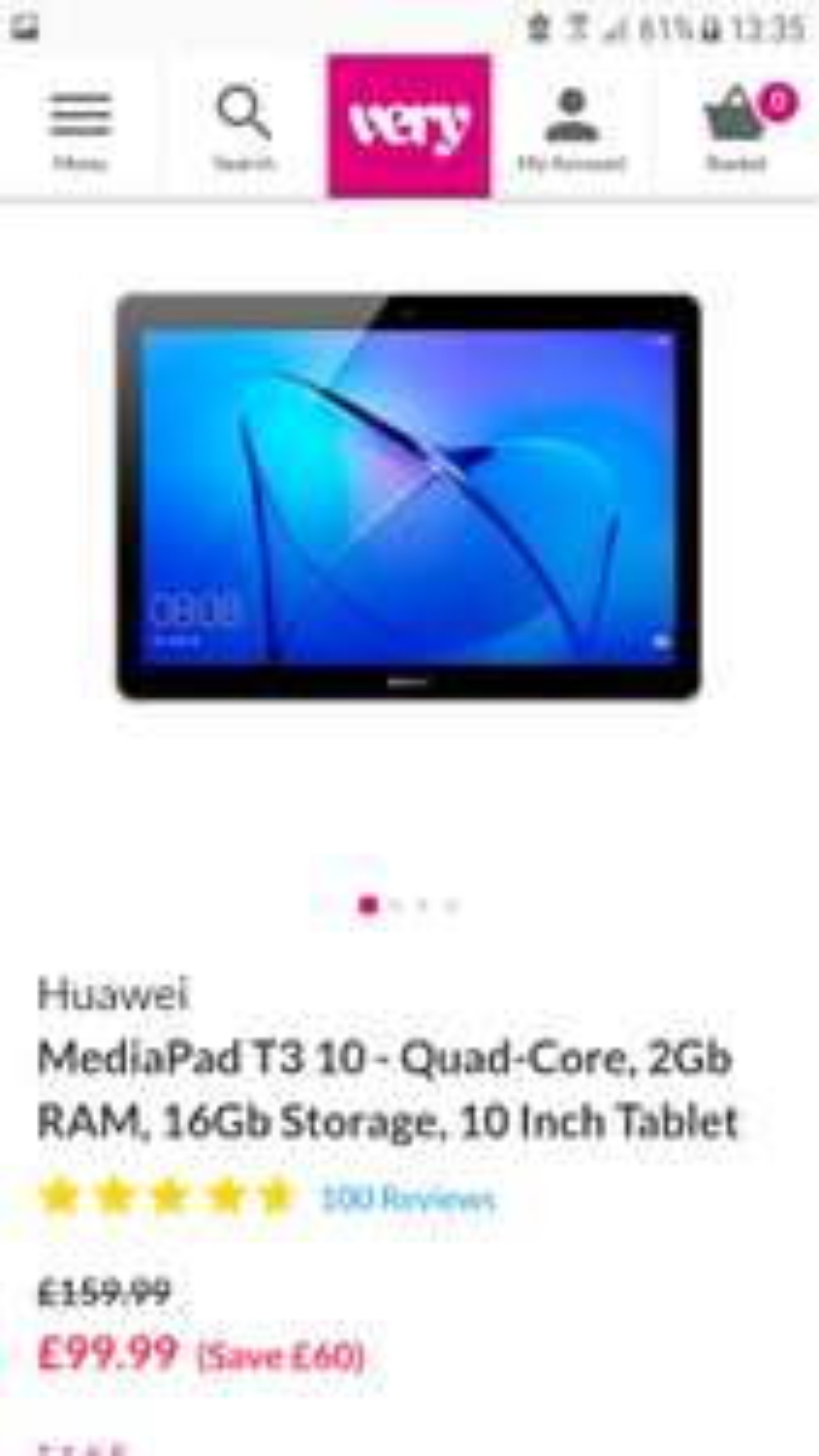 Hauwei Mediapad T3 10inch 16GB £99.99 @ Very
