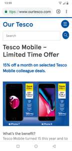 15% off Tesco mobile for colleagues and up to 9 friends and family