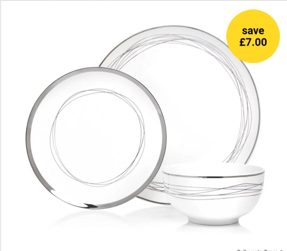 Radiance Dinner Set 12pcs Siver/Gold for £18.00 @ Wilko ( C&C)