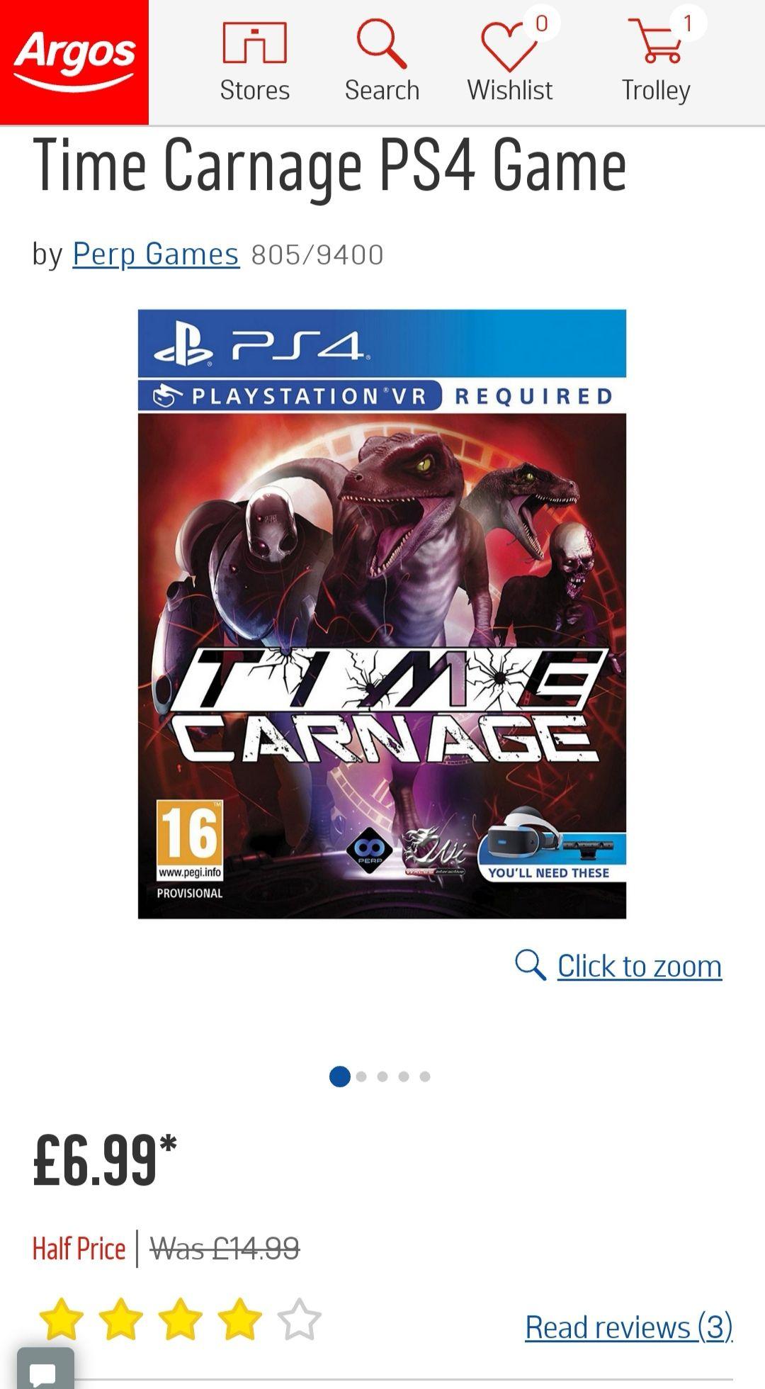Time Carnage HALF PRICE at just £6.99 @ Argos