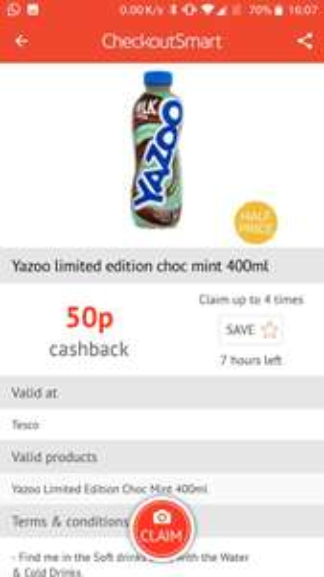 Free Yazoo mint chocolate (50p) at Tesco via Checkoutsmart
