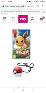 Pokemon Let's Go Eevee and pokeball plus £74.99 @ Very
