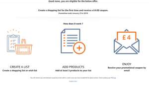 Wish List Promotion - Create an Amazon Shopping List and get £4 for FREE (Selected accounts only)