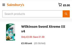 Wilkinson Sword Xtreme 3 disposable razors (4 Pack) - £2 @ Sainsbury's