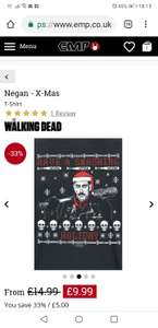 The Walking Dead  Negan christmas tshirt - £9.99 + £3.99 Delivery @ EMP
