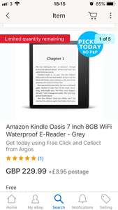 Kindle Oasis 8gb Graphite at Ebay Argos for £194 using code