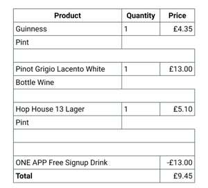 Free £13 bottle of wine in O'Neill's using the app when ordering other drinks
