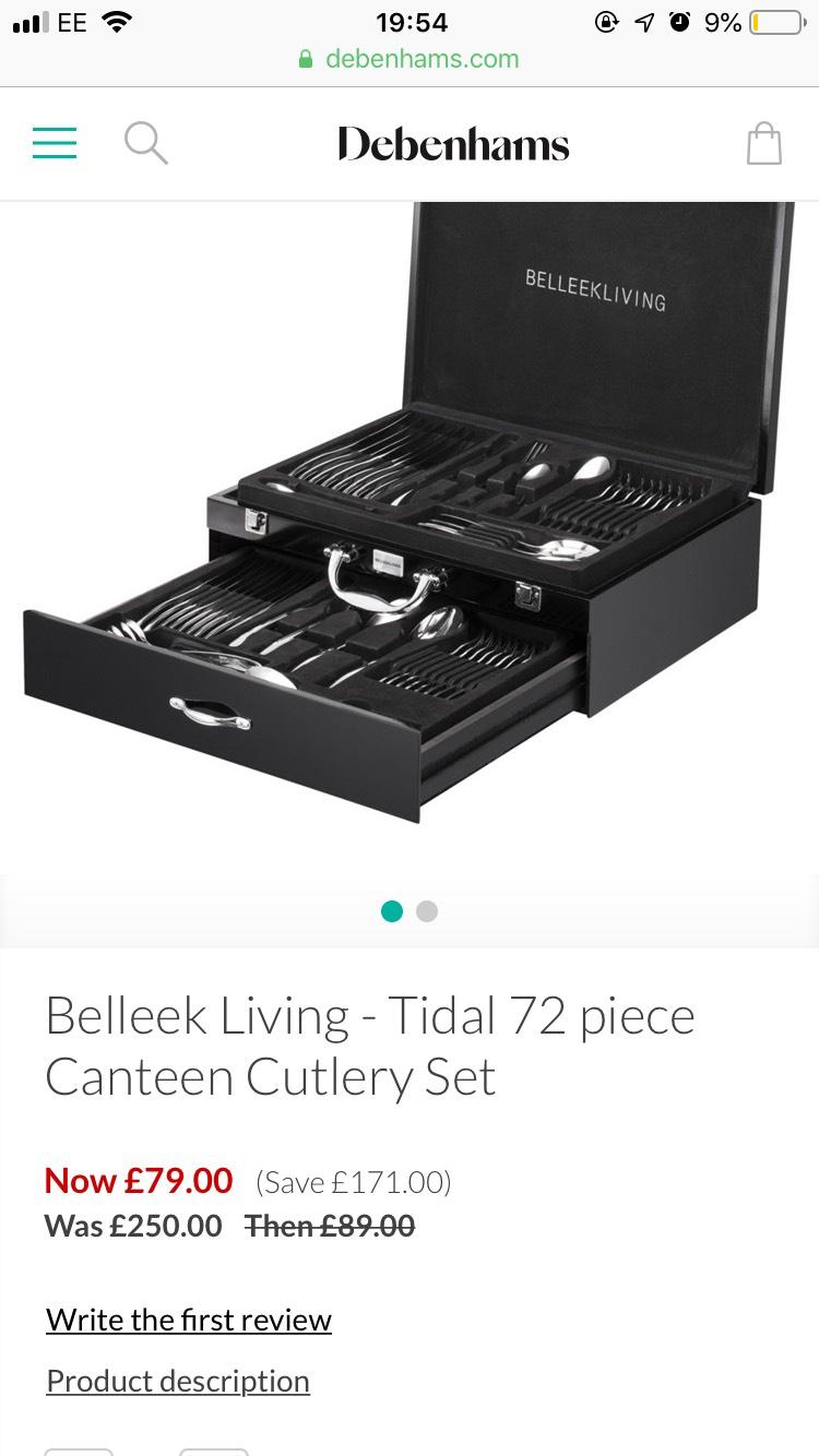 Belleek Living - Tidal 72 piece Canteen Cutlery Set £79 @ Debenhams