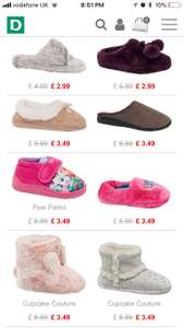 Kids and adults Slippers ranging from £2.49 to £4.99 and free standard delivery from Deichmann