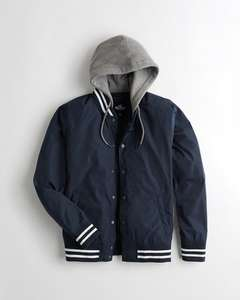 Hooded varsity bomber jacket now £28.99 with free delivery @ Hollister