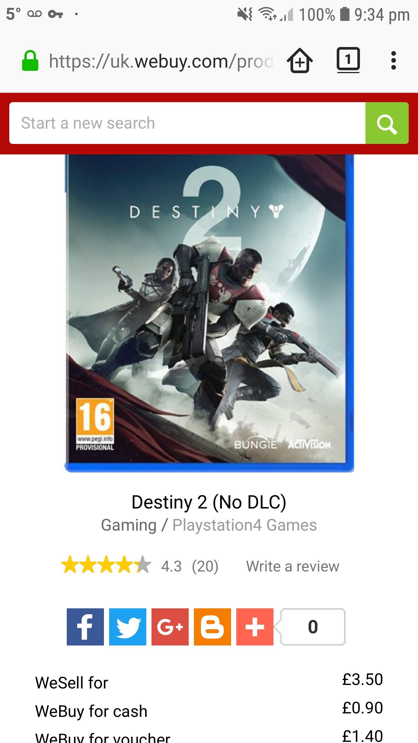 Destiny 2 PS4 - £3.50 @CeX