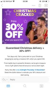 Christmas Cracked 30% off with Lovehoney when spending £30+