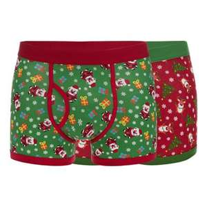 2 pack red santa and reindeer print keyhole mens trunks - £7.50 + £2 C&C @ Debenhams