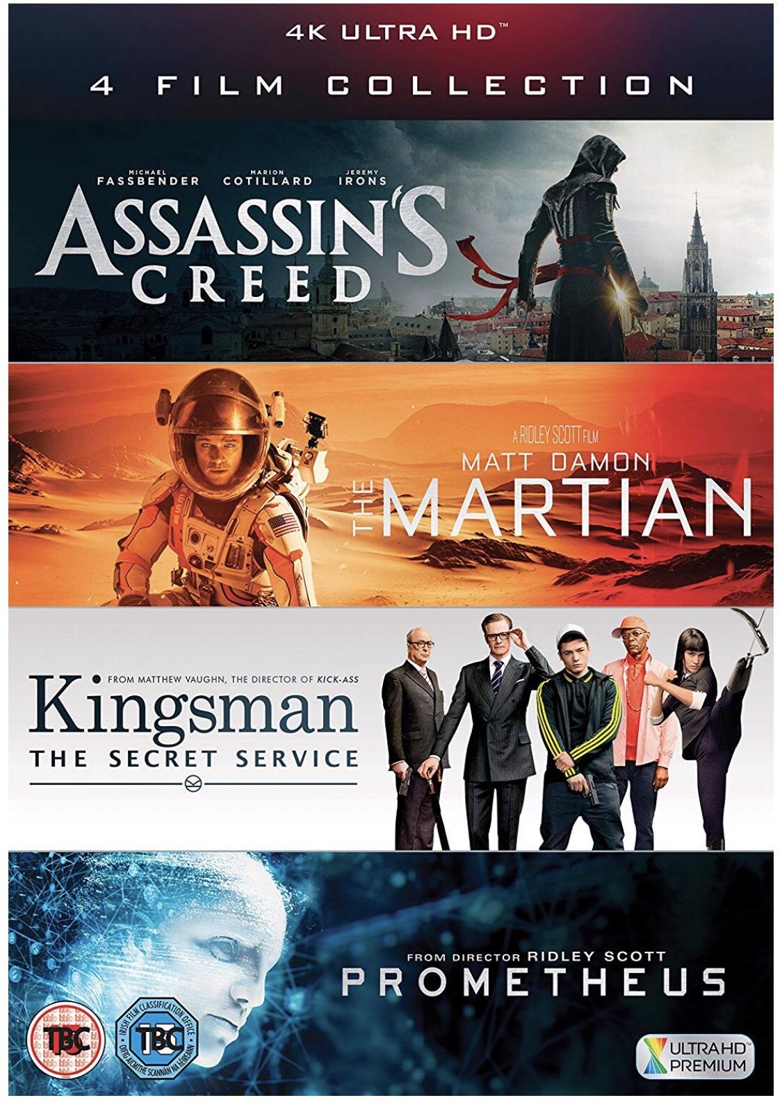 4K UHD Film Collection (Assassin's Creed, The Martian, Kingsman & Prometheus @ Amazon
