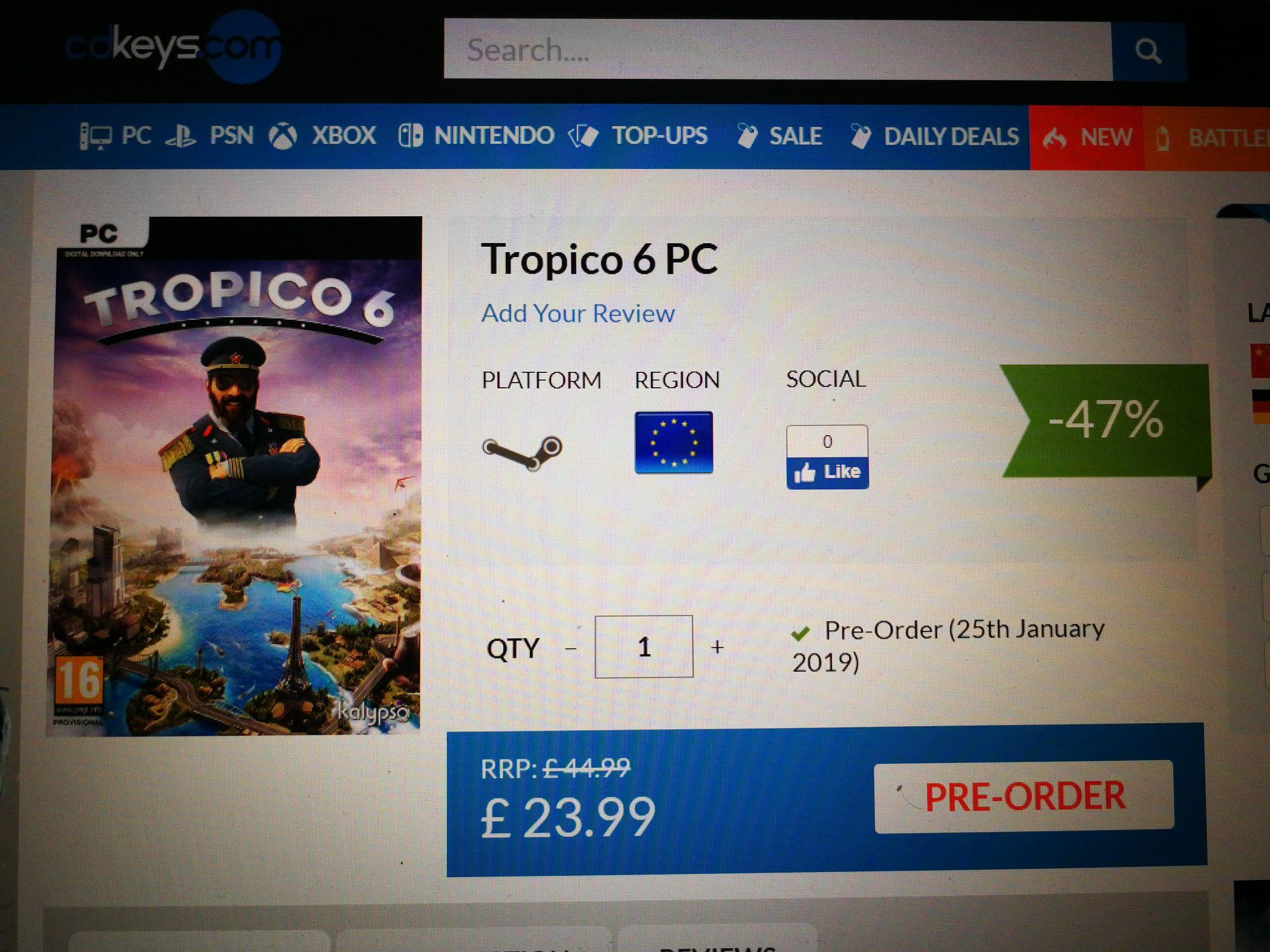 Tropico 6 PC  pre order £23.99 CDKeys