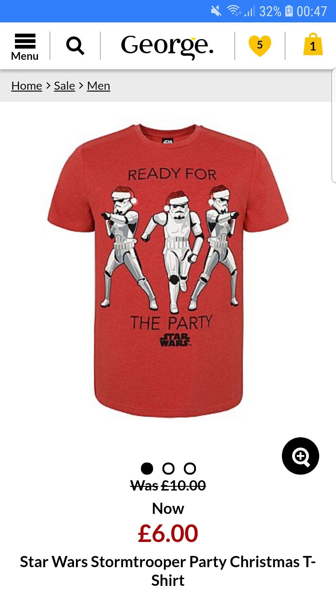Mens Star wars Christmas T-shirt £6 @ Asda - free c&c