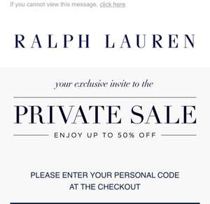 Ralph Lauren Private Sales Up to 50% (Minimun spend of £70 for free delivery) Email exclusive