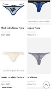 Topshop underwear £1!  free click and collect